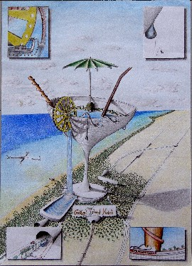 Cocktail Island Hotel (pencil and softcolor pastels, 42x59cm), 2007
